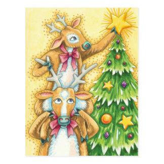 Niedliches Weihnachtsren mit Weihnachtsbaum-Stern Postkarte