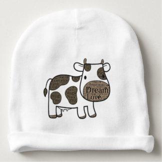 Niedliches Weiß mit Kuh Babymütze