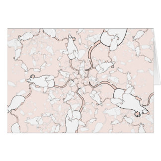 Niedliches weißes Mäusemuster. Mäuse auf Rosa Karte