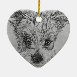 Niedliches Welpen-Hundezeichnen der Tierkunst Keramik Herz-Ornament