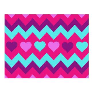 Niedliches Zickzack Herz-Rosa-aquamarine Postkarte