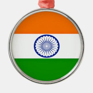 Niedrige Kosten! Indien-Flagge Rundes Silberfarbenes Ornament