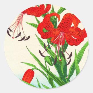 Nishimura Hodo Tiger-Lilienschienbein hanga Blumen Runder Aufkleber