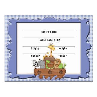 Noahs Arche-Jungen-Geburtsurkunde-Postkarte Postkarte