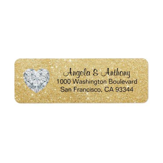 Noble elegante Glitter Rücksendeetikett