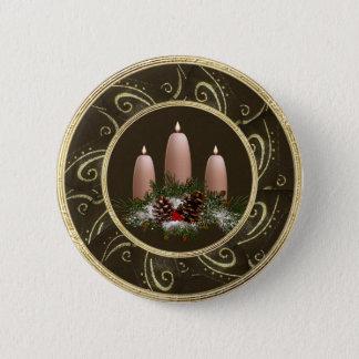 Noble festliche Kerzen u. Kiefern-Kegel-Knopf Runder Button 5,1 Cm