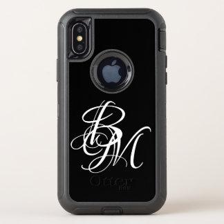 Noble Monogramm-Namen-Buchstaben OtterBox Defender iPhone X Hülle