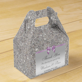 Noble silberne Paillette-lila Bogen-Diamant Geschenkkartons