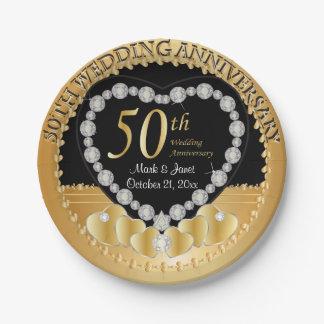 Nobler 50. goldener Hochzeitstag Pappteller