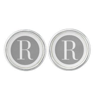 Nobles Monogramm-Silber-Weiß Manschettenknöpfe