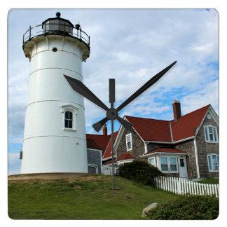 Nobska Punkt-Leuchtturm, Massachusetts-Wanduhr Quadratische Wanduhr
