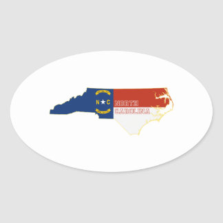 Nord-CarolinaStaats-Flaggen-Karte Ovaler Aufkleber