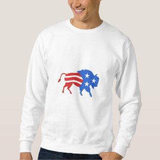 Nordamerikanische Bison USA-Flagge Retro Sweatshirt