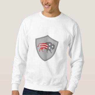 Nordamerikanisches Bison USA-Flaggen-Schild Retro Sweatshirt
