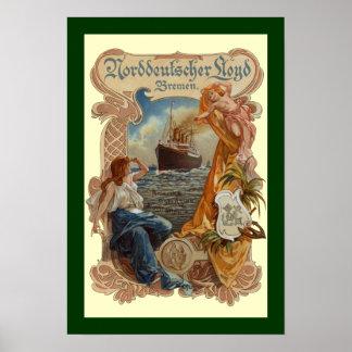 Norddeutscher Lloyd~S.S. Kaiser Wilhelm~Menu Poster