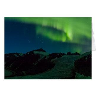 Nordlichter auf Juneau Icefield (freier Raum nach Karte