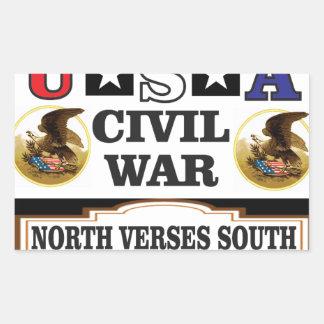 Nordverse zivilen Krieges USA Süd Rechteckiger Aufkleber