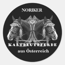 NORIKER Kaltblutpferde aus Österreich Runder Aufkleber