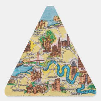 Normandie alte Karte Dreieckiger Aufkleber