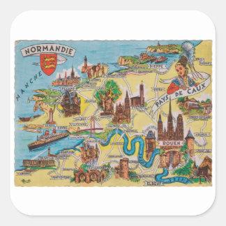 Normandie alte Karte Quadratischer Aufkleber