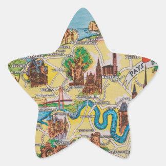 Normandie alte Karte Stern-Aufkleber