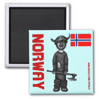 Norwegen-Magnet mit lustigem Wikinger Quadratischer Magnet