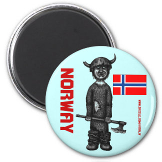 Norwegen-Magnet mit lustigem Wikinger Runder Magnet 5,1 Cm