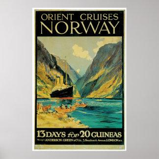 Norwegen-Reise - Vintage Schiffs-Anzeige Poster