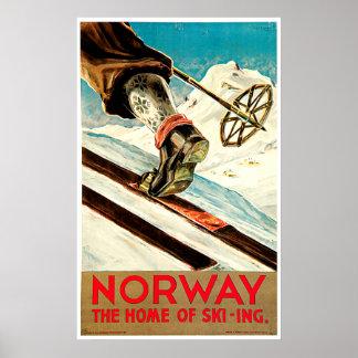 Norwegen - Zuhause der Skifahren-Reise-Kunst Poster