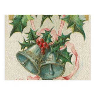 Nostalgisches Weihnachten Bell und Stechpalme Postkarte