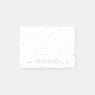 Notizblock - Gold punktiert Weiß