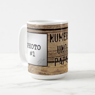 Numero UNO-Papa in den rustikalen Holz-Gerahmten Tasse