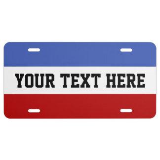 NUR FARBstreifen - Rot u. Blau US Nummernschild
