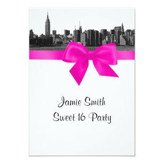 NYC breite Skyline ätzten BW-Pink-Bonbon 16 12,7 X 17,8 Cm Einladungskarte