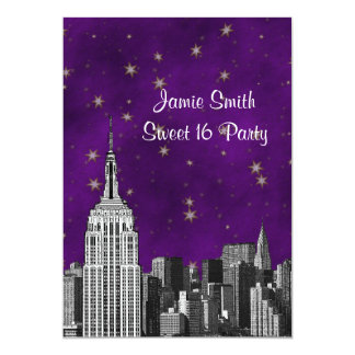 NYC ESBSkyline ätzte lila Starry Bonbon 16 V 12,7 X 17,8 Cm Einladungskarte