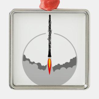oboe Rakete Silbernes Ornament