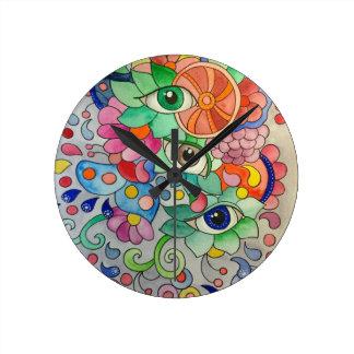 Oeils in Farbe Runde Wanduhr