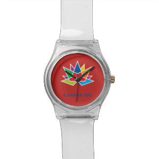 Offizielles Logo Kanadas 150 - Mehrfarben- und rot Uhr