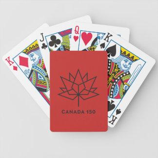 Offizielles Logo Kanadas 150 - Rot und Schwarzes Bicycle Spielkarten