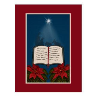 Öffnen Sie Bibel-Weihnachtsmitteilung Postkarte