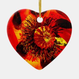 öffnen Sie Mohnblume zwei Keramik Herz-Ornament