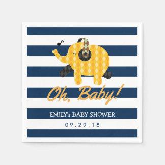 Oh Baby-Elefant-Marine-blaue Streifen-Babyparty Papierservietten