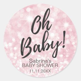 OH-BABY! Rosa Schein-Glitter-Baby-Duschen-Mädchen Runder Aufkleber