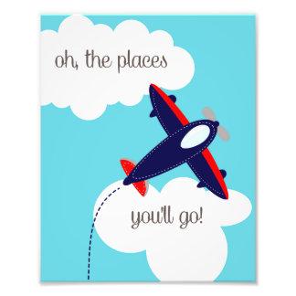 Oh die Plätze gehen Sie Flugzeug-Foto-Druck Photographien