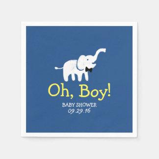 Oh Elefant-Marine-Blau-Babyparty Papierservietten