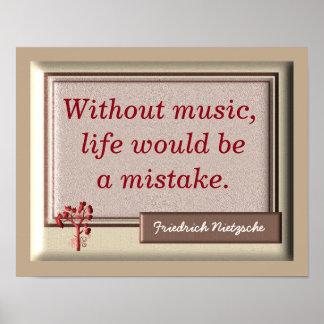 Ohne Musik II - Nietzsche Zitat - Druck Poster