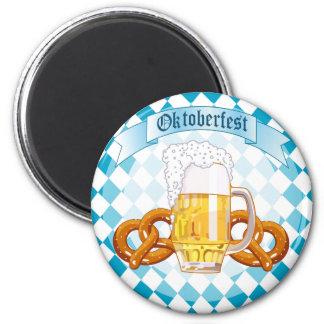 Oktoberfest Brezeln u. Bier Runder Magnet 5,7 Cm