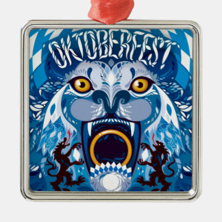 Oktoberfest Löwe Quadratisches Silberfarbenes Ornament