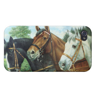 Old German Horse Oil Painting Portrait from 1924 iPhone 4 Case