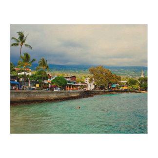 Ölfarbe-Kunst Kailua Kona Pier-Hawaiis Digital Holzleinwand